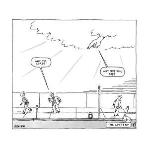 God's hand in the clouds points at a man walking on a sidewalk. - New Yorker Cartoon by Jack Ziegler