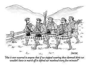 """""""Has it ever occurred to anyone that if we stopped wearing these damned sk?"""" - New Yorker Cartoon by Jack Ziegler"""