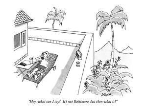 """""""Hey, what can I say?  It's not Baltimore, but then what is?"""" - New Yorker Cartoon by Jack Ziegler"""