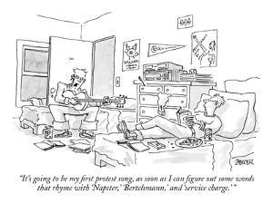 """""""It's going to be my first protest song, as soon as I can figure out some ?"""" - New Yorker Cartoon by Jack Ziegler"""