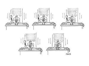 Man in office looking at himself with various types of cigars, cigarette a? - New Yorker Cartoon by Jack Ziegler