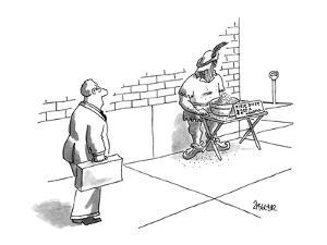 "Man in Robin Hood costume sells ""Pixie Dust, $2.00 a handful"". - New Yorker Cartoon by Jack Ziegler"