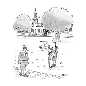 """Man in stocks with sign """"Details at Eleven"""". - New Yorker Cartoon by Jack Ziegler"""