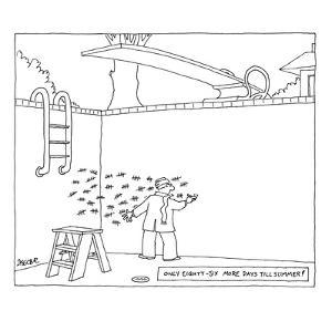 Man in wool cap and scarf making tally marks in his empty pool. - New Yorker Cartoon by Jack Ziegler