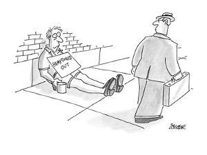 """Man on street with sign """"Hamptoned Out"""". - New Yorker Cartoon by Jack Ziegler"""