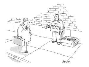 Man on the street hands out magazine blow-in cards. - New Yorker Cartoon by Jack Ziegler