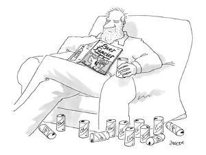 Man, surrounded by empty beer cans, asleep in a chair with a copy of 'Beer? - New Yorker Cartoon by Jack Ziegler