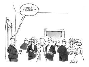 "Man walks into party and thinks to himself: ""Yipes! Grownups!!"" - New Yorker Cartoon by Jack Ziegler"