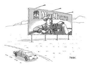 Marlboro billboard on side of highway with the cowboy looking at a limp ci? - New Yorker Cartoon by Jack Ziegler