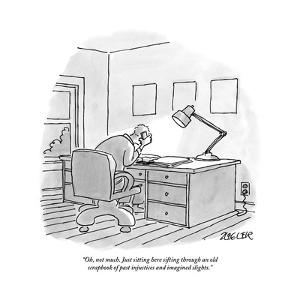 """""""Oh, not much. Just sitting here sifting through an old scrapbook of past ?"""" - New Yorker Cartoon by Jack Ziegler"""
