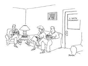 """One-eyed people sit in waiting room for """"E. Smith, cyclopetrist."""" - New Yorker Cartoon by Jack Ziegler"""