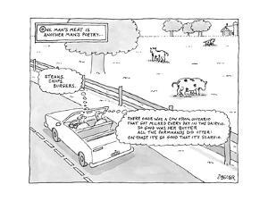 """""""One Man's Meat Is Another Man's Poetry..."""" ? Two men drive by a farm in a? - New Yorker Cartoon by Jack Ziegler"""