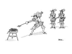 One of the three Musketeers at a barbecue with spatula-ended rapier. - New Yorker Cartoon by Jack Ziegler