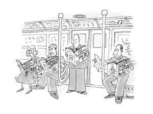 People in a subway all reading subway-oriented magaizines and newspapers. - New Yorker Cartoon by Jack Ziegler