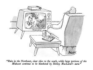 """""""Rain in the Northeast, clear skies to the south, while large portions of ?"""" - New Yorker Cartoon by Jack Ziegler"""