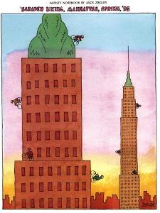 Scraper Biking, Manhattan, Spring, '93 - New Yorker Cartoon by Jack Ziegler