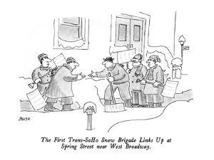 The First Trans-SoHo Snow Brigade Links Up at Spring Street near West Broa? - New Yorker Cartoon by Jack Ziegler