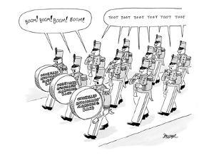 The members of the 'Unskilled Musicians' Marching Band' call out the sound? - New Yorker Cartoon by Jack Ziegler