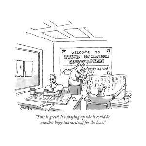 """This is great! It's shaping up like it could be another huge tax writeoff... - New Yorker Cartoon by Jack Ziegler"