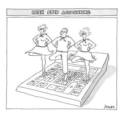 Three people perform traditional Irish dance on top of an oversize calculator. - New Yorker Cartoon