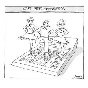 Three people perform traditional Irish dance on top of an oversize calculator. - New Yorker Cartoon by Jack Ziegler