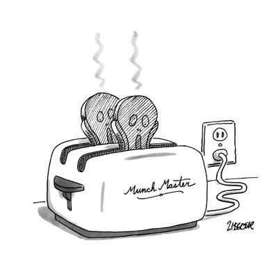 Toaster labeled 'Munch Master' has two pieces of burnt toast popping up. T? - New Yorker Cartoon