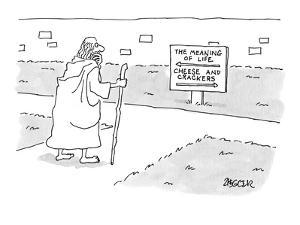 Traveler at a fork in the road, ponders a sign that reads, 'The Meaning of? - New Yorker Cartoon by Jack Ziegler