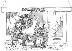 Two police in full riot gear stop at a trashed Starbucks in the wake of th… - New Yorker Cartoon by Jack Ziegler