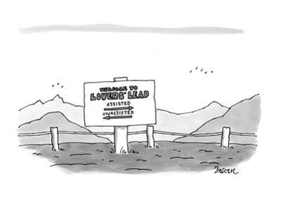 Welcome to Lovers' Leap, Assisted - New Yorker Cartoon