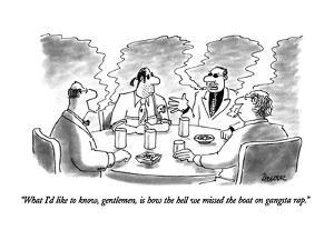 """""""What I'd like to know, gentlemen, is how the hell we missed the boat on g?"""" - New Yorker Cartoon by Jack Ziegler"""