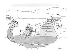 Wife taking a picture of her husband in front of their shoveled walk-way. - New Yorker Cartoon by Jack Ziegler