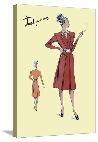 Jacket Dress, 1947--Stretched Canvas Print