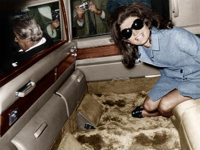 Jackie Kennedy Onassis Leaving London Airport, Aristotle Onassis Driving, 15th November 1968--Photo
