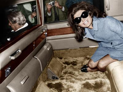 Jackie Kennedy Onassis Leaving London Airport, Aristotle Onassis Driving, 15th November 1968