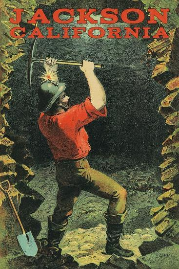 Jackson, California - Miner-Lantern Press-Art Print