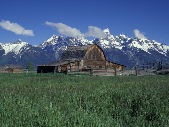 Jackson Hole Homestead and Grand Teton Range, Grand Teton National Park, Wyoming, USA-Jamie & Judy Wild-Photographic Print
