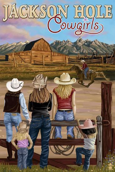 Jackson Hole, Wyoming - Cowgirls-Lantern Press-Art Print