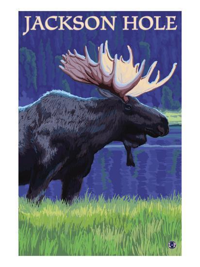 Jackson Hole, Wyoming - Moose at Night-Lantern Press-Art Print