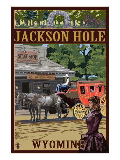 Jackson Hole, Wyoming Stagecoach-Lantern Press-Art Print