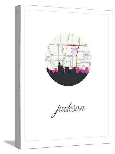 Jackson Map Skyline 2-Paperfinch 0-Stretched Canvas Print