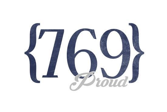 Jackson, Mississippi - 769 Area Code (Blue)-Lantern Press-Art Print