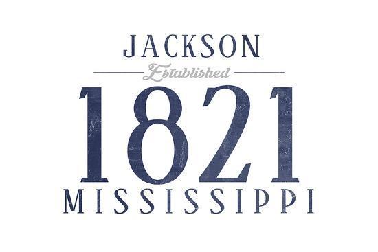 Jackson, Mississippi - Established Date (Blue)-Lantern Press-Art Print
