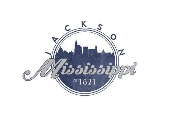 Jackson, Mississippi - Skyline Seal (Blue)-Lantern Press-Art Print