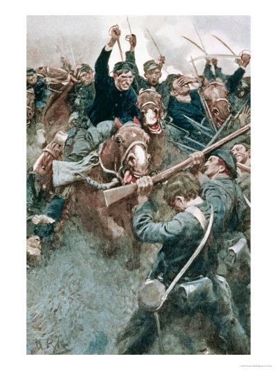 Jackson's Brigade Standing Like a Stone Wall Before the Federal Onslaught at Bull Run-Howard Pyle-Giclee Print