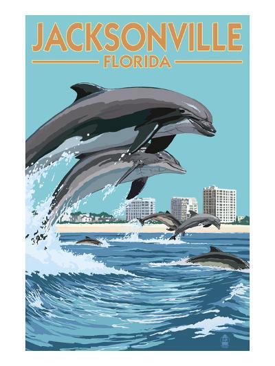 Jacksonville Beach, Florida - Jumping Dolphins-Lantern Press-Art Print