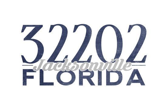 Jacksonville, Florida - 32202 Zip Code (Blue)-Lantern Press-Art Print