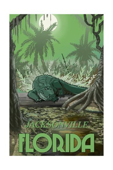 Jacksonville, Florida - Alligator in Swamp-Lantern Press-Art Print