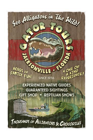 Jacksonville, Florida - Alligator Tours Vintage Sign-Lantern Press-Art Print