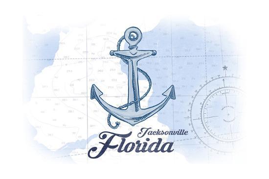 Jacksonville, Florida - Anchor - Blue - Coastal Icon-Lantern Press-Art Print