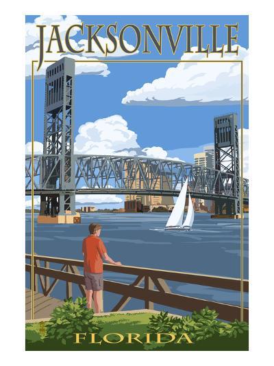 Jacksonville, Florida - Bridge Scene-Lantern Press-Art Print